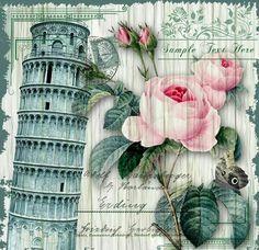 Pisa Decoupage Vintage, Papel Vintage, Art Vintage, Vintage Paper, Vintage Prints, Vintage Posters, Vintage Pictures, Vintage Images, Collage Art