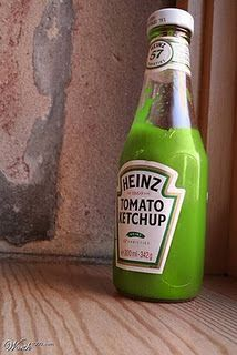 Green Ketchup?  Really?  Might be just the thing to eat on those Irish Potato Fries!