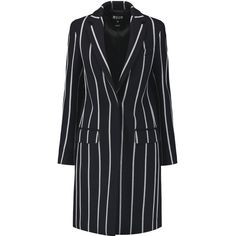 MSGM Pinstriped brushed-twill coat (£255) ❤ liked on Polyvore featuring outerwear, coats, midnight blue, slim fit coat, pinstripe coat, slim coat, msgm coat and msgm