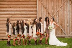 love the neutral colors of bridesmaids dresses!