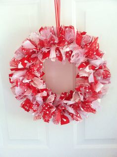 Red and White Snowmen Rag Ribbon Wreath by RagWreathsbyMissVal, $45.00