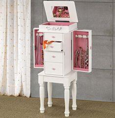 Cute Pink and White #Jewelry #Armoire #PresentIdea