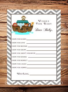 Noah's Ark Matching Well Wishes Card, Baby Wishes Card, Baby Shower Advice Card, Noah's Ark Baby Wishes Card, Pink, Noah's Ark, Boy, Girl