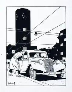 Ligne Claire, City Painting, Automotive Art, Car Ins, Vintage Cars, Automobile, Roman, Paintings, French