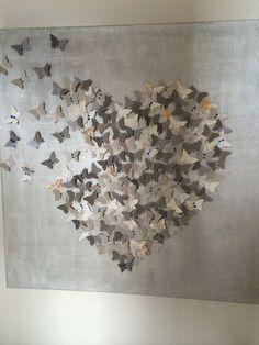 Cuadros grande con mariposas de papel