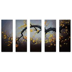 """My Art Outlet Hand Painted """"Japanese Branch Charcoal Sky"""" 5-Piece Canvas Art Set - M 2009"""