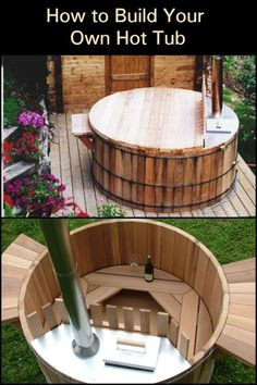 with Friends and Family in Your Backyard this Winter by Building Your Own Wood-Fired Hot Tub!Relax with Friends and Family in Your Backyard this Winter by Building Your Own Wood-Fired Hot Tub! Hot Tub Deck, Hot Tub Backyard, Hot Tub Garden, Outdoor Tub, Outdoor Baths, Outdoor Decor, Bookshelves In Living Room, Stock Tank, Deco Originale