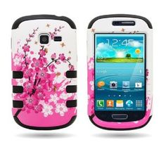Amazon.com: CoverON® Hybrid TPU & Hard Plastic Dual Layer Case for Samsung Galaxy Discover / Galaxy Centura - with Cover Removal Pry Tool - SPRING FLOWER Hard BLACK TPU: Cell Phones & Accessories