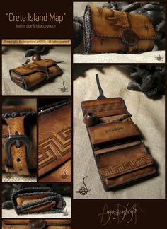 """""""Crete island map"""" Leather pipe & tobacco pouch  Pyrography and painting.  ~~~SOLD~~~  for orders please conrtact me at morgenland@gmail.com"""