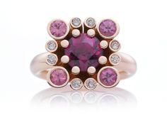 Castello met rhodoliet en Champagne diamanten  ring, juwelen, goud  www.bronjewelry.com