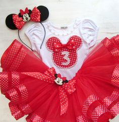 Minnie Mouse Birthday Outfit, Red Minnie Mouse, Birthday Party Outfits, Disney Birthday, Toddler Tutu, Toddler Outfits, Diy Tutu, Tutu Outfits, Body