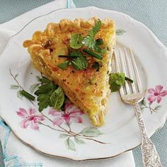 Caramelized Onion Quiche is the perfect addition to your next brunch or luncheon. Gruyere cheese and bacon combine with caramelized onions for a quiche that can't be beat. Flat-leaf parsley, chives, and mint add a fresh, pretty finish to this tasty dish.
