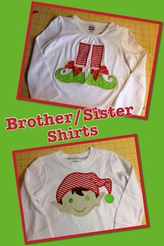 Christmas matching brother sister shirts elf shoes.