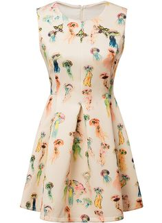 Shop Beige Sleeveless Jellyfish Print Flare Dress online. SheIn offers Beige Sleeveless Jellyfish Print Flare Dress & more to fit your fashionable needs.