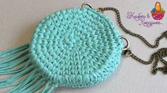 "Круглая сумочка крючком из трикотажной пряжи ""Silena"" #KVK"