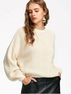 Oversized Lantern Sleeve Sweater - OFF-WHITE ONE SIZE