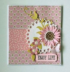 "Card flower MFT sunflower Die-namics, MFT leafy flourish Die-namics, Tilda Apple Bloom paper collection ""Apple Bloom"" - Tilda papercraft - card with single flower #Tilda - JKE"