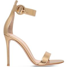 GIANVITO ROSSI Como leather heeled sandals ($720) ❤ liked on Polyvore featuring shoes, sandals, gold, high heels stilettos, gold shoes, stiletto high heel shoes, gold stilettos and heels stilettos