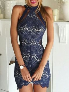 Navy Lace and Mesh Inset Cut Away Bodycon Dress