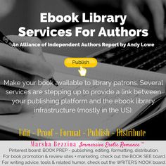 Ebook Library Services For Authors: An Alliance of Independent Authors Report by Andy Lowe: Make your book available to library patrons via an ebook loan system. Several services are stepping up to provide a link between your publishing platform and the ebook library infrastructure (mostly in the US). | Book Prep - Distribution
