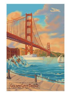 Golden Gate Bridge Sunset - 75th Anniversary - San Francisco, CA Art Print at AllPosters.com