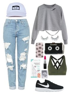 """""""Boyfriend Jeans"""" by elizabeth-tinker ❤ liked on Polyvore featuring Unicorn Lashes, Rebecca Minkoff, NIKE, Topshop, MAC Cosmetics and Koral"""