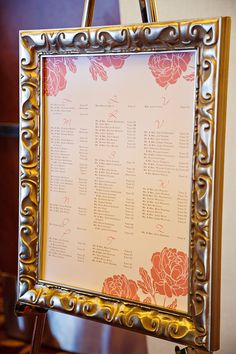 Wedding Details | Framed Seating Chart |  K. Holly Photography