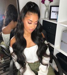 Weave Ponytail Hairstyles, Baddie Hairstyles, My Hairstyle, Down Hairstyles, Long Ponytail Weave, Black Girl Prom Hairstyles, Black Weave Hairstyles, Hairstyles 2018, Birthday Hairstyles