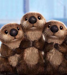 Cute Animal Illustration, Cute Animal Drawings, Cute Drawings, Cute Cartoon Animals, Cute Baby Animals, Animals And Pets, Otter Cartoon, Baby Otters, Cute Little Things