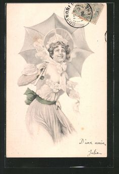 Ladies / Woman with umbrella | Ladies / Woman / Fashion | Page 2 | old Postcards