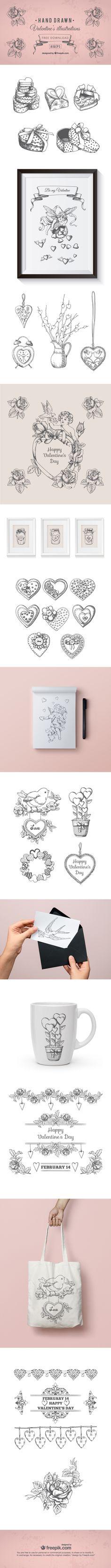 Free Hand Drawn Valentines Day Illustrations