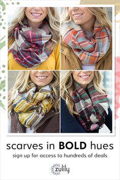 Sign up to shop scarves, up to 70% off at zulily.com. Our online assortment features cotton, cashmere, wool, silk and chiffon scarves.