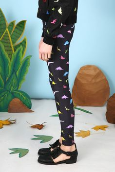 Dinosaur Print Leggings Multicolour www.thewhitepepper.com/collections/socks-tights/products/dinosaur-print-leggings-multicolour