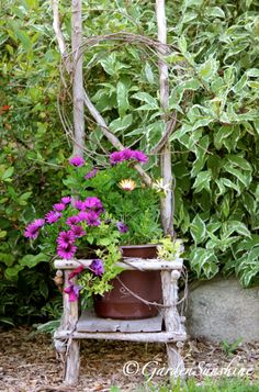 twig chair - flowers listed
