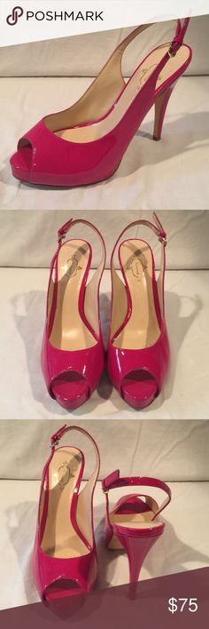 "Hot Pink Heel Footcandy Brand. Hot pink, peep toe, platform, sling back 4.75"" heel. Worn twice and in excellent condition. Footcandy Shoes Heels"