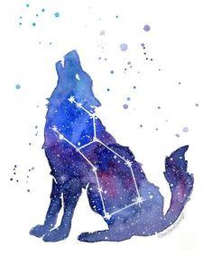 Wolf Galaxy, Howling Wolf, Lupus Constellation, Wolf Wall Art, Galaxy Wall Art, Zodiac Print, Watercolor Wolf, Nebula Art, Space Print