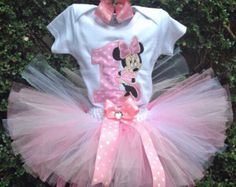 Pink Minnie Mouse 1st Birthday Outfit Onesie by BabyEmporiumStore