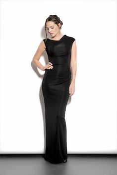 Long sleek black body-con dress