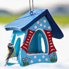 Vogelvilla Futtermini Hobbit Tupfen hellblau Futterhaus Vogelfutterhaus
