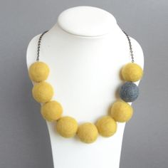 Yellow Necklace - Lemon and Gray Chunky Felt Bead Necklace - Statement Necklace - Yellow and Gray Fairtrade Felted Ball Jewelry. £15.00, via Etsy.