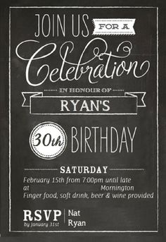 How to make 30th birthday invitations  My husband Ryan's 30th birthday party is soon, so I thought I would share how I made his invites. They are super easy to make and look great when finished. Here's how to do it: http://ladycreativity8.blogspot.com.au/2014/02/how-to-make-30th-birthday-invitations.html