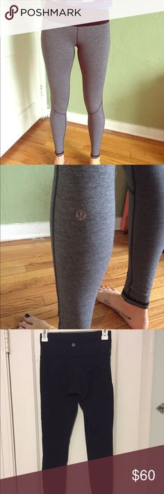 Reversible lululemon leggings These reversible leggings are grey with dark stitching on one side and black on the other side. The grey side has a logo on the mid calf and the black has a logo on the back waistband. There is a small hole on the left leg about the size of a pin head! lululemon athletica Pants Leggings