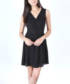 Black Lace Placket Dress by Zouk #zulily #zulilyfinds
