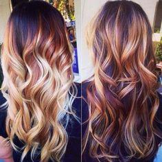 Dark Auburn Hair Color with Blonde Highlights