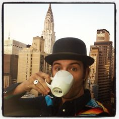 keithharkin  A wee cuppa in NYC before we hit the road again... Detroit, then Little Rock, show number.. 55 tonight!? I dunno.. :)