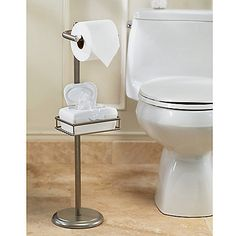 Spa Creations Toilet Tissue Stand with Wet Wipe Adjustable Shelf  This striking toilet paper holder would make a stylish and practical addition to any bathroom. It features an eye-catching epoxy coated matte nickel steel frame and innovative adjustable moist wipe holder.