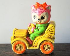 Vintage Chalkware Bank Cat Driving Car Made In Japan
