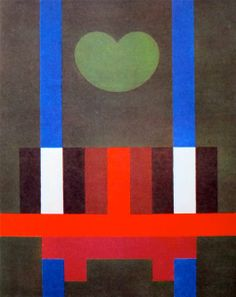 """Herbert Bayer """"Structure and Moon on Green"""" Oil on canvas 1962-67"""