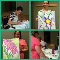 Heidi and Erin concentrating on the fantasy flower. Bold strokes and bright backgrounds set the tones!