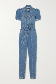 Retrofête's 'Tori' jumpsuit is cut and tailored from denim woven with a touch of stretch for comfort. Gently stonewashed and distressed for a subtle vintage feel, it has puffed sleeves and classic patch pockets. Leave a few of the top buttons undone to show off a gold necklace. Wear it with: BY FAR Shoulder bag, Manolo Blahnik Pumps, BY FAR Sandals. -- Blue denim - Buttons and concealed zip fastening along front - 98% cotton, 2% elastane - Machine wash - Made in Italy